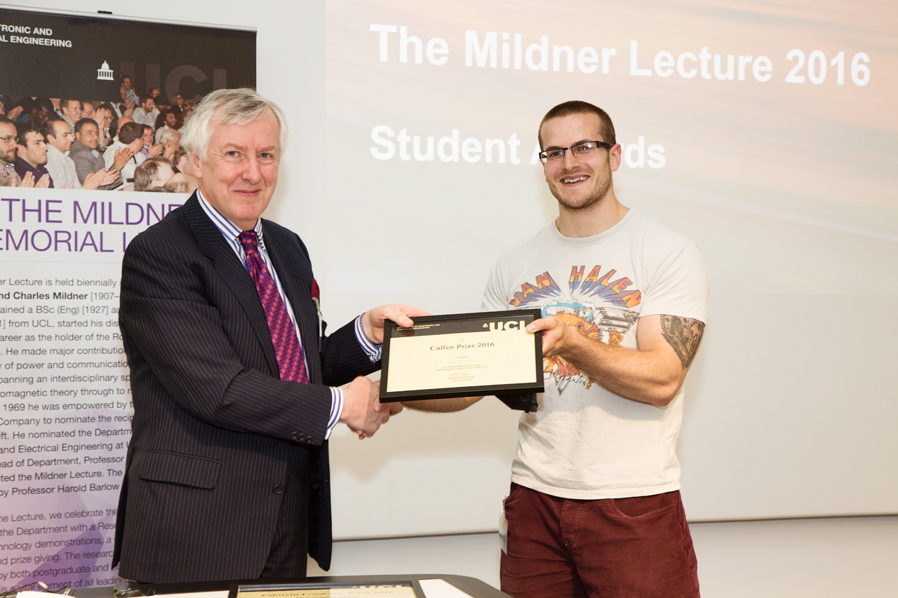 Many congratulations to Richard Colchester for winning the 2016/17 Lombardi prize for the best thesis in EEE. Well done Richard!